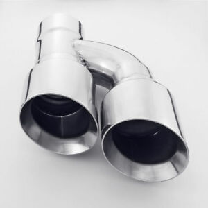 3 Inlet Weld On Staggered 4 Outlet Slant Cut Twin Round Exhaust Tip Brand New