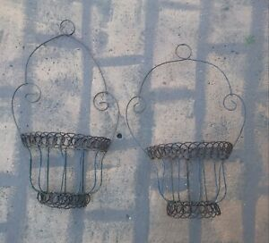 Vintage Bent Twisted Wire Wall Basket Rustic Shabby Chic Garden Decor Antique