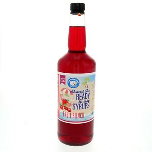 Snow Cone Syrup Or Hawaiian Shaved Ice Ready To Use Fruit Punch 32 Fl Oz