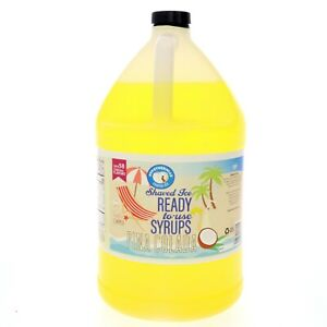 Pina Colada Hawaiian Shaved Ice Syrup Or Snow Cone Flavor Ready To Use Gallon