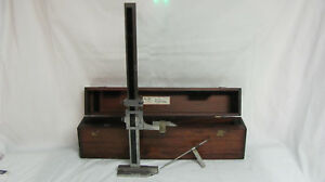 Starrett No 454 G 18in Vernier Height Gage In Wooden Case Made In The Usa