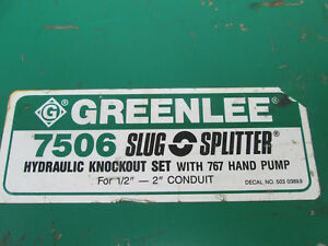 Greenlee Slug splitter 7506 Stainless Steel Knockout Punch Set 1 2 2