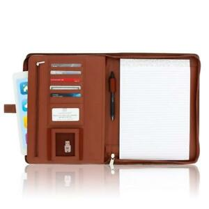 Zippered Leather Business Portfolio Padfolio Professional Light Brown Pu