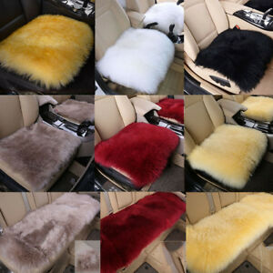 3pc Genuine Fur Long Wool Car Seat Cover Cushion Sheepskin Leather Warm Pad