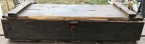 Vintage Wooden Military Ammunition Ammo Box Crate Rope Handles