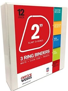 3 Ring Binder White 2 Slant D rings Clear View Pockets File Organizer 12 pack