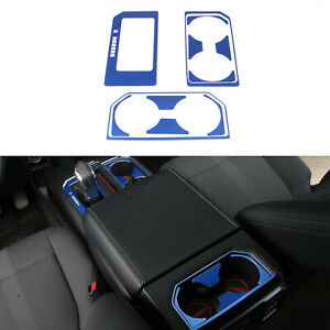 Aluminum Alloy Gear Cup Holder Decorative Sheet For Ford F150 2016 2017 Blue