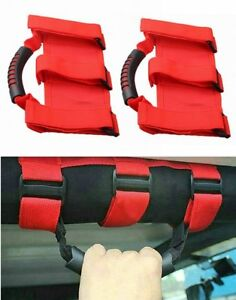 Pair Red Unlimited Roll Bar Grab Pull Handles For Jeep Wrangler Jk 07 18
