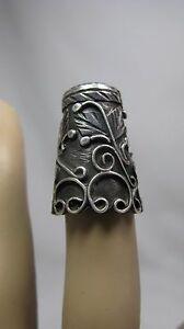 Vintage Scroll Leaf Design Tall Thin Sterling Silver Thimble