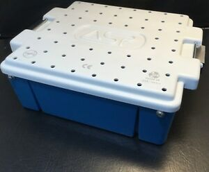 Asp Medical Instrument Sterilization Storage Tray W Handles 10 x10 x4 Blue Kp