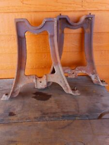 Antique Industrial Machine Age Cast Iron Legs Re Purpose Coffee Table Desk 17