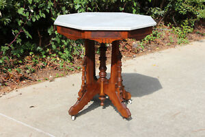 Fabulous Unusual Walnut Victorian Octagonal Marble Top Eastlake Center Table