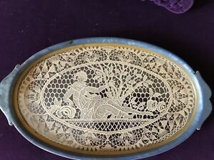 Antique Lace Point De Venise Figural Blue Bakelite Celluloid Oval Dresser Tray