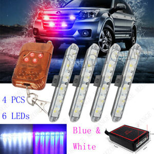 4x 6 Led Blue White Car Strobe Warning Flashing Emergency Wireless Remote Light