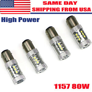 4x Pure White 1157 High Power 80w Led Turn Signal Stop Backup Reverse Light Bulb