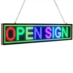 Rgb Led Open Sign Wifi Remote Programmable Scrolling Message Led Display Board