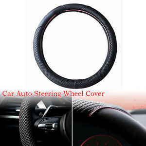Auto Steering Wheel Cover Black And Red Stitching Pu Leather Universal 38cm Part