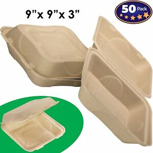 Biodegradable 9x9 Take Out Food Containers With Clamshell Hinged Lid 50 Pack