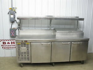 Asi Stainless 87 Partial Raised Rail Pizza Prep Table 3 Door Refrigerator 7 3