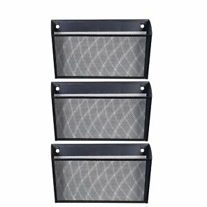 Designa Mesh Wall Mounted File Holder Letter Pocket Organizer Black 3 Packs