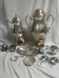 Vintage Silver Toned Coffee And Tea Supply Sets 10pcs Urns Trays Creamers Etc