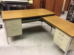 Office Furniture Metal Desk Matching Credenza Used