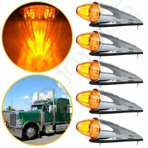 5x 17 Led Amber Torpedo Cab Marker Clearance Roof Running Top Light For Kenworth