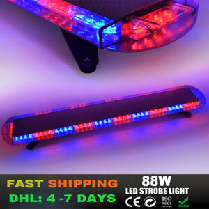 47inch 88 Led Strobe Lights Emergency Beacon Warning Tow Truck Roof Top Red Blue