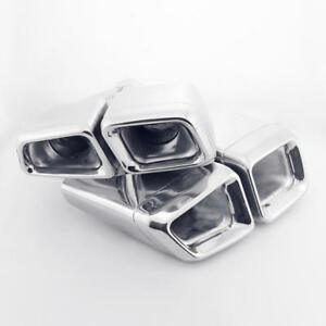 2 4 Inlet Quad Exhaust Tips Dual Square Angle Cut Staggered For Mercedes benz