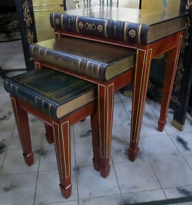 3 Vtg Wood Book Motif Nesting Tables Stacking Library