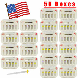 Usa 50 Packs Dental Fiber Post Resin Post With Drill Screw Thread Quartz Yellow