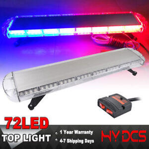 38inch 72 Led Strobe Lights Emergency Beacon Warning Tow Truck Roof Top Red Blue