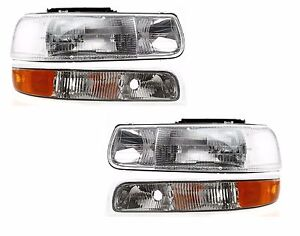 1999 2000 2001 2002 Chevy Silverado Head Signal Light Left Right Pair 4pcs