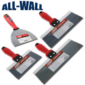 4 piece Wal board Blue Steel Drywall Taping Knife Set 6 8 10 12 Soft Grip