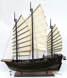 Chinese Junk Handcrafted Wooden Model Boat 29