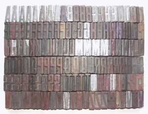 132 Piece Vintage Letterpress Wood Wooden Type Printing Blocks 40m m bc 5035