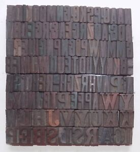 118 Piece Vintage Letterpress Wood Wooden Type Printing Blocks 32m m bc 5026