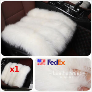 Car Front Rear Sheepskin Long Wool Seat Chair Cover Cushion Winter Warm Soft Usa