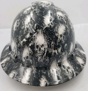 Full Brim Hard Hat Custom Hydro Dipped White Smoking Skulls Super Sick New