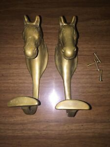 Vintage Pair Of Solid Brass Horse Wall Hooks Coat Hat Rack