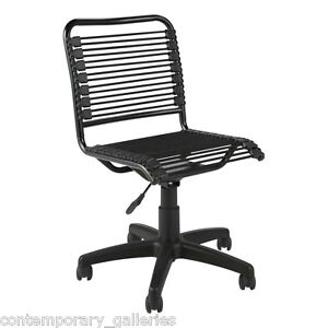 New Contemporary Modern Black Bungie Bungee Low Back Armless Desk Task Chair