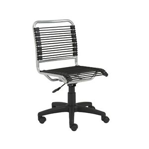 New Contemporary Modern Bungie Bungee Low Back Armless Desk Chair Black Aluminum