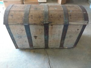 Very Large Antique Norwegian Wood Rosemal Steamer Dome Lid Trunk