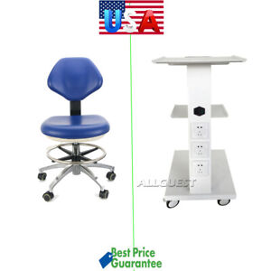 Medical Dental Trolley Built in Socket Cart doctor Stool Adjustable Mobile Chair