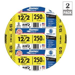 Solid 2 pack 250 Ft 12 2 Romex Simpull Cu Nm b W g Building Electrical Wire