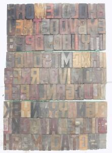 106 Piece Vintage Letterpress Wood Wooden Type Printing Blocks 65 M m bc 5000