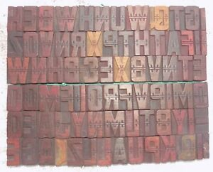 79 Piece Vintage Letterpress Wood Wooden Type Printing Blocks 40 M m bc 5005