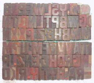68 Piece Vintage Letterpress Wood Wooden Type Printing Blocks 40 M m bc 5001