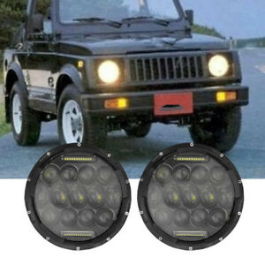 2x7 Inch 75w White Drl Led Headlights For Jeep Wrangler Jk Tj Yj Suzuki Samurai