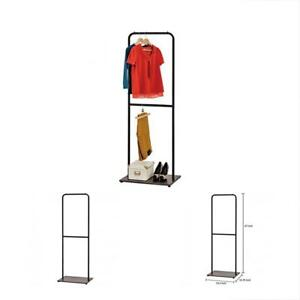 Single Bar Garment Rack Metal Pipe Design Clothes Hanger With Wood Base